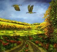 Hay Field Geese